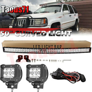 For 1993 98 Jeep Grand Cherokee Zj Windshield 50 Inch Curved Combo Led Light Bar