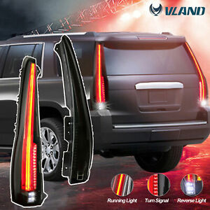Pair Smoked Tinted Led Tail Lights For 07 14 Cadillac Escalade Esv Rear Lamp