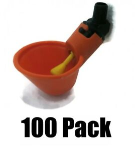 100 Poultry Drinker Plastic Water Cups W Low Pressure Automatic Float 1 8 Mpt