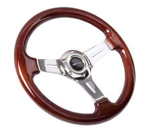 Nrg Steering Wheel Classic Vintage Wood Aluminum Spokes 330mm St 015 1ch