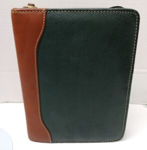 Vtg Franklin Quest Green Brown Leather Organizer Planner Dividers 6 Rings 1 25