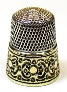 Antique Simons Bros Gold Band Sterling Silver Thimble Circles Scrolls Mng E