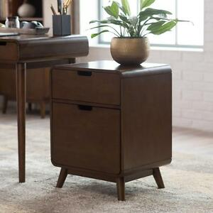 Walnut Finish Wood Mid Century Modern Retro Storage Filing Cabinet Home Office