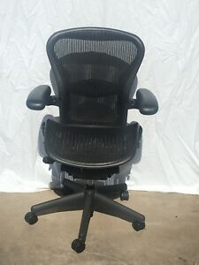 Herman Miller Aeron Chair Black W teal Mesh Size B Medium Excellent Condition