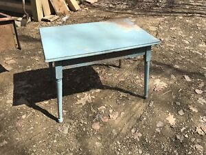 Antique Wood Farm Table Blue Chippy Paint Weathered Distressed