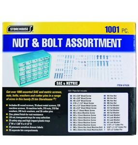 Nuts Bolts Assortment Sae And Metric Screws Washers Storage Box Free Gift