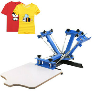4 Color Screen Printing Press Machine Silk Screening Pressing 1 Station T shirt