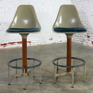 Pair Of Burke Swivel Bar Stools Mid Century Modern Fiberglass Shell Fabric Seat