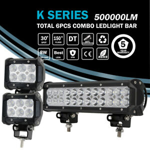 12inch Led Work Combo Flood Spot Light Bar W cube Pods Driving Atv 4wd Jeep Suv