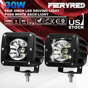 12v 24v Pair 3 Inch 30w Cree Led Driving Light Rgb Dually Pods Flood Offroad 4wd