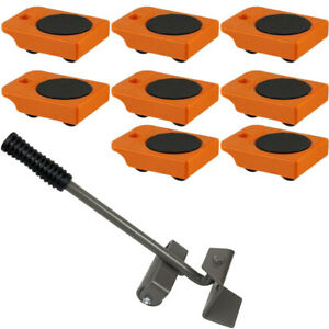 8pc Mover Rollers With Handle Furniture Appliances Roll With Ease 4 X 3