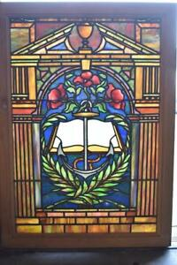 Antique Stained Glass Window Anchor Books Flowers Columns Tiffany Quality