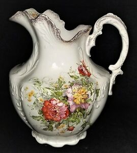 Large Pitcher Porcelain Oregon Crest W Lion Mk Florals Gilt C1890 11 T