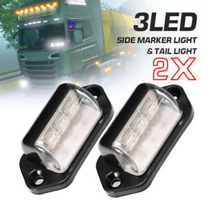 2 Pack Universal 3 Led License Plate Tag Lights Lamps For Car Truck Trailer Van