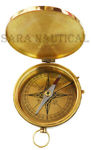 Brass Compass Vintage Hms Victory Marine Ship Star 1805 Pocket Collectible Item