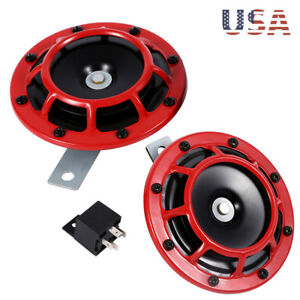 2x Red Super Loud Compact Electric Blast Tone Hella Horn For Car Truck Motro Us