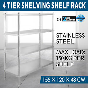 Adjustable 4 Tier 61 x47 x19 Shelving Heavy Duty Rack Stainless Steel Shelf