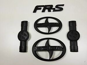 Set Of 5 Scion Fr s Black Front Rear And Side Emblems Fast And Free Shipping