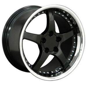 Black Wheel 18x10 5 W Stainless Lip W Rivet For 1993 2002 Chevy Camaro Owh0541
