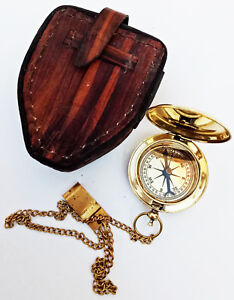 Nautical Push Button Chain Compass Vintage Pocket Compass With Leather Case