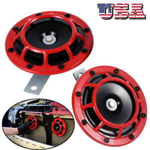 2pcs Compact Electric Loud Blast 12v Red Grille Mount Super Tone Hella Horn Kit