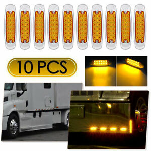 10 Pack Amber Thin Side Marker Lights Clearance 12 Led Chrome For Freightliner