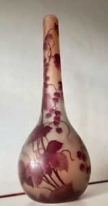 26 66cm Legras Art Glass Vase France Signed Awesome Design Acid Enamel Huge