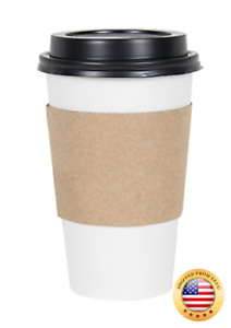 Cucinaprime White Paper Coffee Hot Cups With Black Travel Lids And Slee 100