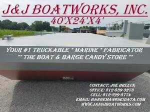New 40 X 24 X 4 Sectional Barge Work Barge Dredge Barge