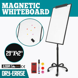29x42 Magnetic Writing Whiteboard Single Side Dry Erase W Adjust Mobile Stand