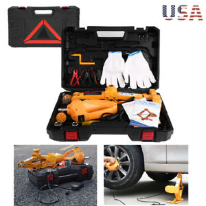 3 Ton Automotive Electric Scissor Car Jack Lift 12v Dc Wrench With 1 2 Impact