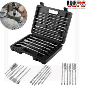 17 Pc Sds Plus Rotary Hammer Bits Drill Bit Chisel Groove Concrete