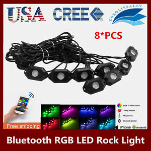 8pcs 9w Cree Led Rock Light Jeep Offroad 2 Under Wheel Rig Light Suv 4x4wd Red