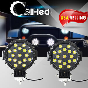 2x Flood Led Work Lights 7inch 51w Bumper Driving Pods Offroad Round Atv 4x4 Suv