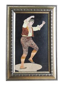 Dancing Colorful Man Inlay On Marble Pietra Dura Plaque Micro Mosaic Decorative