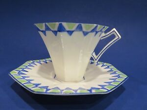 Vintage Melba Art Deco Bone China Cup And Saucer Hand Painted England C 1930s