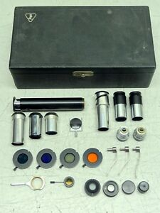 Vintage B l Bausch Lomb Opt Co Monocular Microscope Kit read