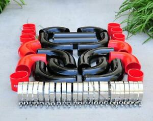 12 Pcs 3 Universal Black Intercooler Piping Red Silicone Coupler Clamp Kit