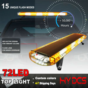 38 72led Car Emergency Warning Solid Roof Plow Tow Strobe Light Bar Amber White
