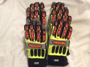 Boss Miners Mechanic Hi vis Safety Impact Work Gloves Large 6 Pair