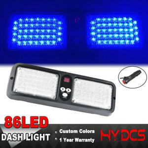 86 Led Emergency Warning Hazard Suv Flash Sunshield Visor Strobe Light Blue 12v