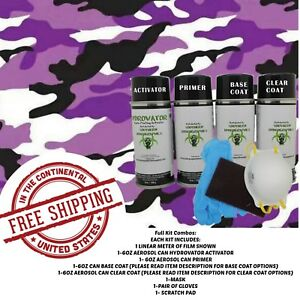 Hydrographic Water Transfer Hydro Dip Kit Activator 1m Army Camo Purple Film