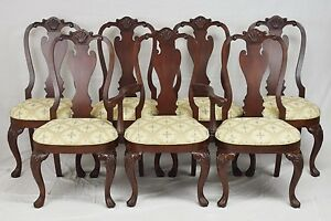 Ethan Allen Queen Anne Dining Chairs Mahogany Set Of 7 Williamsburg Style
