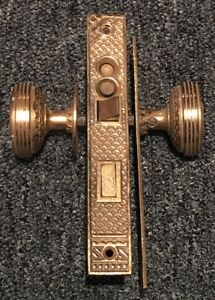Victorian Antique Brass Door Knobs With Lock Assembly Backplates Eastlake