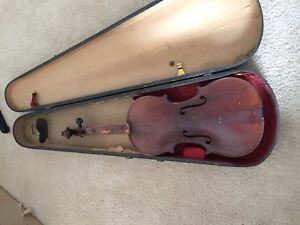 Vintage Antique Very Old Violin With Antique Wood Case