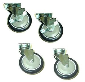 Set Of Four Swivel Casters With 5 Black Non marking Wheels 2 With Brakes