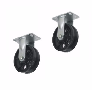 Set Of 2 Rigid Plate Casters 6 X 2 Steel V groove Wheel With 1 2 Id Spanner