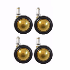 2 1 4 Brass Finish Metal Ball Casters With Rubber Tread With 7 16 X 7 8 Grip