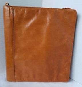Franklin Covey Monarch Unstructured Planner Caramel Tan Zip Leather 1 25 Rings
