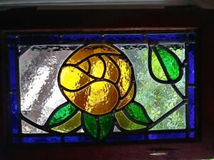 Vintage Yellow Rose Stained Glass W Oak Window Panel Hanging Wood Floral Garden